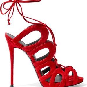 Giuseppe zanotti lace up red heels
